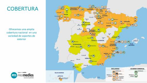 Al ser delegados del Grupo Promedios podemos gestionar las contrataciones de los soportes publicitarios que gestionan en el resto de España.