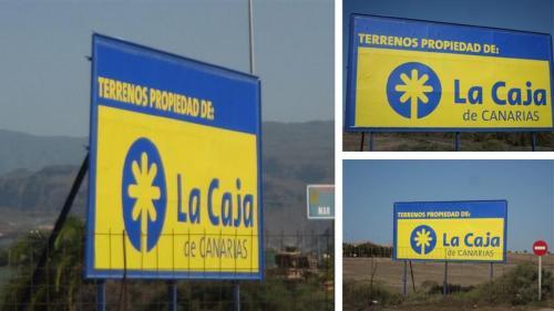 Valla de obra- La Caja de Canarias
